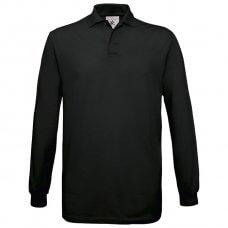 Majica dugi rukavi B&C Safran Polo LSL 180g crna 2XL