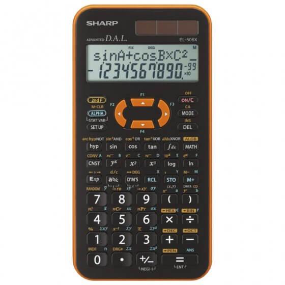 Kalkulator tehnički 10+2mjesta 462 funkcije Sharp EL-506 XYR narančasti